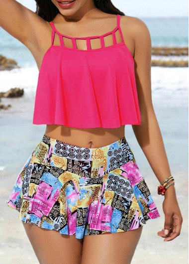 Cage Neck Swimwear Top and Printed Pantskirt - L