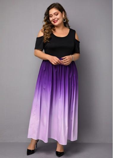 Plus Size Dress Cold Shoulder Dress Gradient Dress Ruched Dress Purple Dress High Waist Dress Elegant Dress - 0X