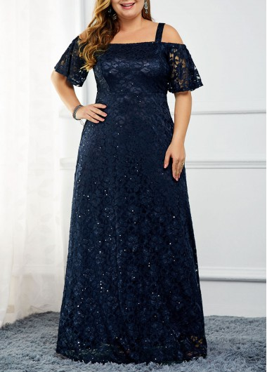 Navy Blue Strappy Cold Shoulder Back Zipper Lace Dress Sequin New Year Eve Party Maxi Dress - 0X