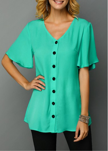 V Neck Button Up Short Sleeve Flare Sleeve Green Tunic Top St Patricks Day Shirts - M