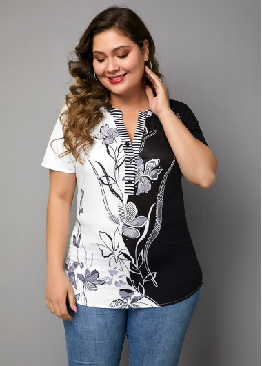Plus Size Split Neck Flower Print Blouse - 0X