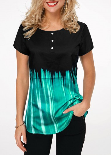 Printed Button Front Short Sleeve T Shirt - M