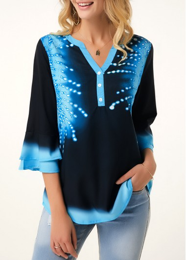 Flare Cuff Printed Button Detail Blouse - L