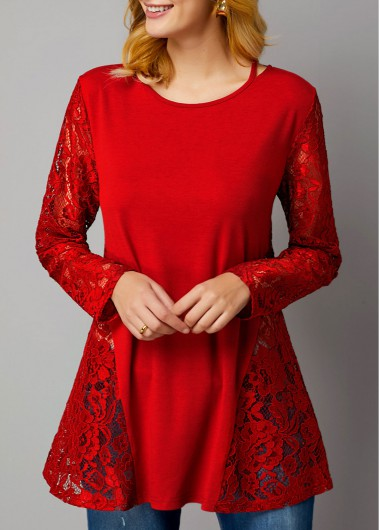 Lace Panel Long Sleeve Wine Red T Shirt - L