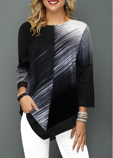 Asymmetric Hem Color Block Round Neck T Shirt - L