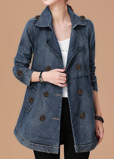 Button Detail Long Sleeve Pocket Denim Coat - XXL