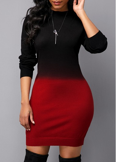 Gradient Long Sleeve Round Neck Sweater Dress - L