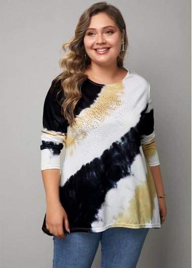 Long Sleeve Multicolor Plus Size T Shirt - 0X