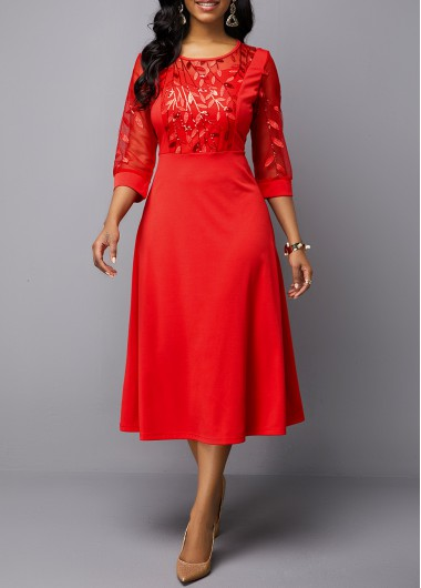 Embroidered Mesh Panel Round Neck Red Dress - M