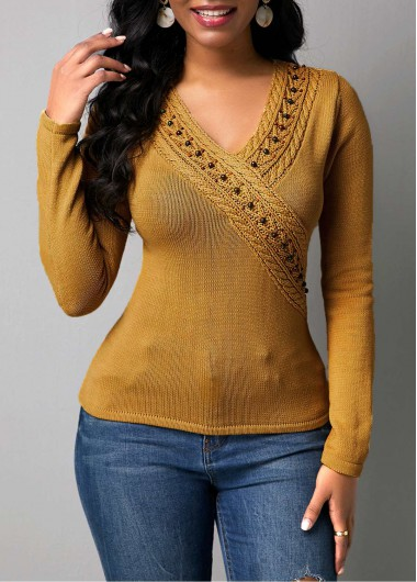 Beads Embellished Rib Knit Pullover Sweater - XXL