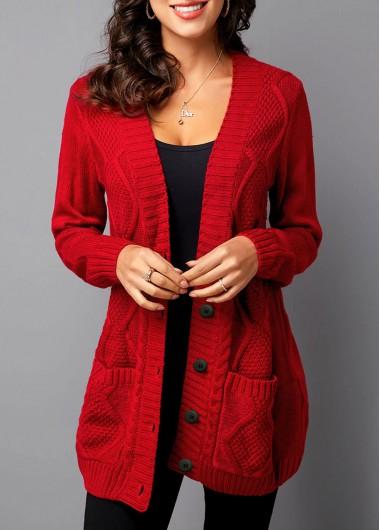 Button Up Pocket Detail Rib Knit Cardigan - L