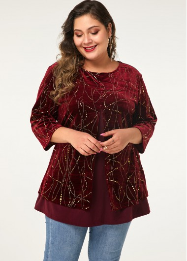 Plus Size Three Quarter Sleeve Button Front T Shirt - 0X
