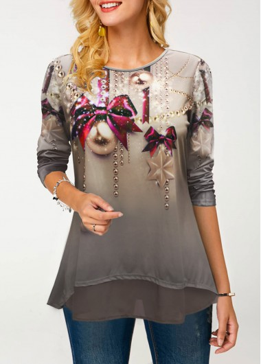 Printed Round Neck Long Sleeve T Shirt - L