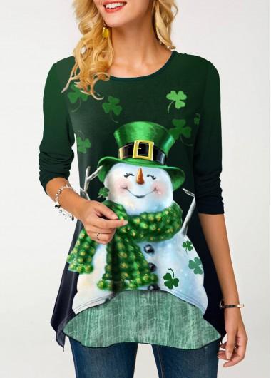 Layered Hem Christmas Snowman Print Green T Shirt - M