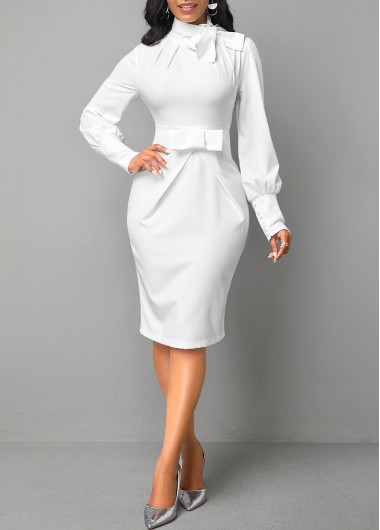 Bow Collar Long Sleeve White Dress - L