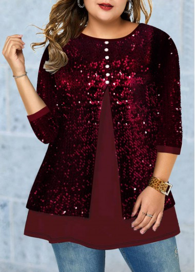 Red Plus Size Top 3/4 Sleeve Tunic Top Sequin New Year Eve Shirt Top - 0X
