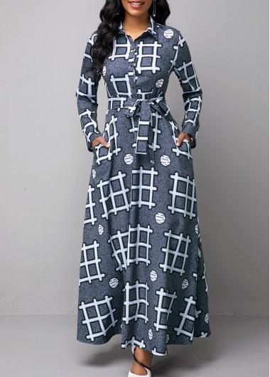 Long Sleeve Turndown Collar Geometric Print Dress - L