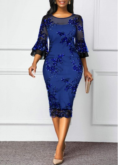 Blue Flare Sleeve Mesh Panel Sequin Dress Bodycon Dress New Year Party - L