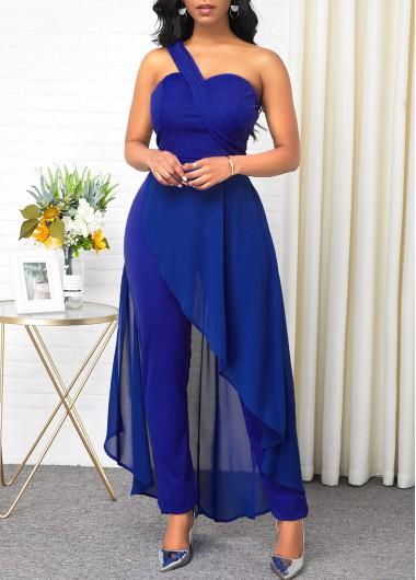 One Shoulder Ruffle Hem Blue Jumpsuit - L