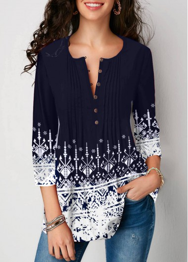 Crinkle Chest Printed Three Quarter Sleeve Blouse - L