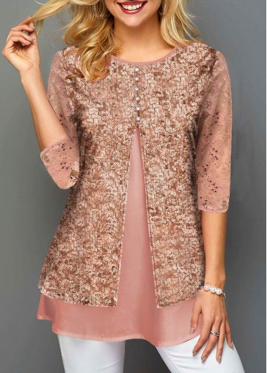 Pink Lace Panel 3/4 Sleeve Sequin Shirt New Year Top - L