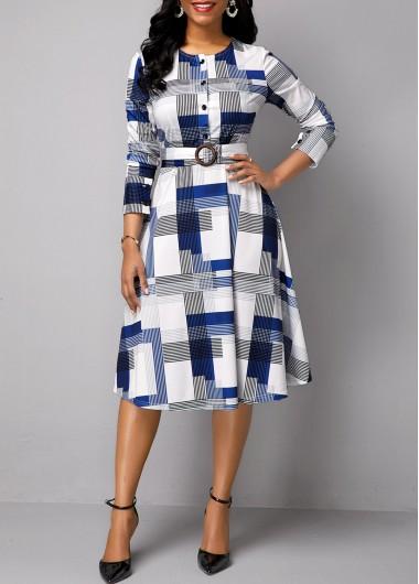 White Geometric Print Long Sleeve Belted Work Dress - 16