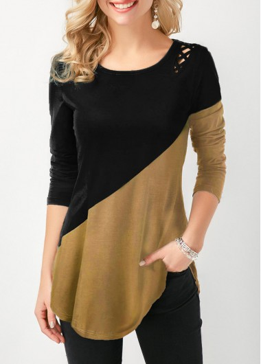 Color Block Lace Up Side Curved Hem T Shirt - L