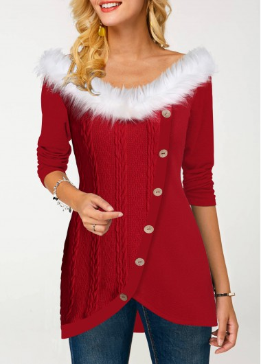 Red Inclined Button Up Long Sleeve Fur Collar Santa Christmas Shirt Top for Women - L