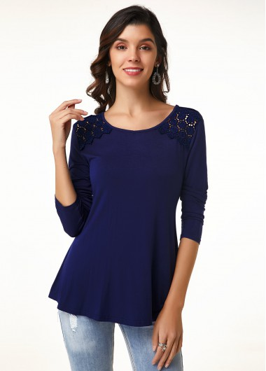 Lace Trim Round Neck Long Sleeve T Shirt - 12