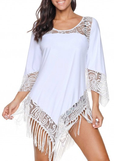 White Lace Panel Tassel Hem Cover Up Blouse Tunic Top for Women - L