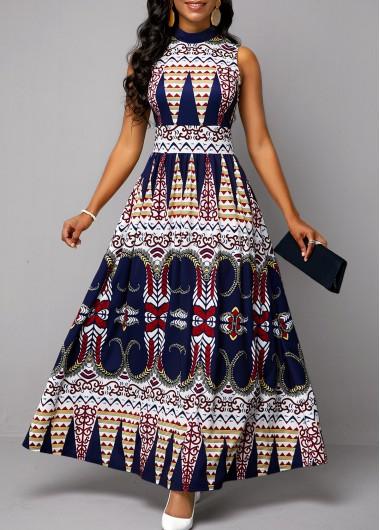 Tribal Print Sleeveless Mock Neck Dress - 10