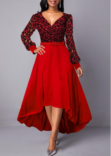 Red V Neck Long Sleeve Belted High Waist High Low Dress Elegant Dress Party Dress for Women - L