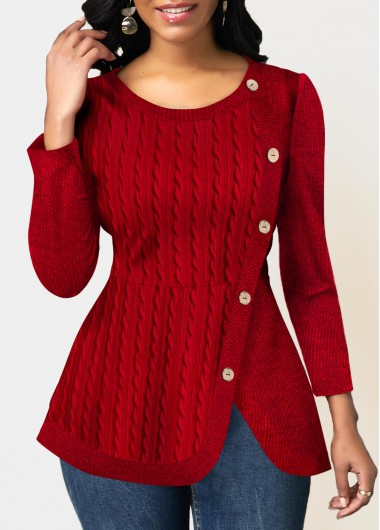Red Round Neck Long Sleeve Button Up Asymmetric Hem Hoodie Sweatshirt for Women - L
