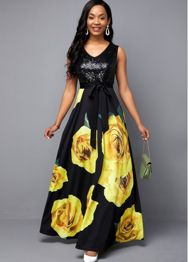 Flower Print Sequin Panel Belted Maxi Dress - 12