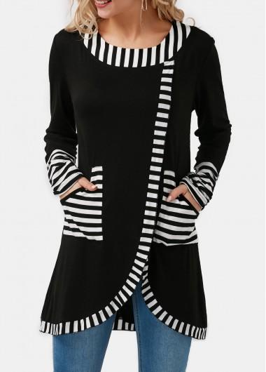 Stripe Print Tulip Hem Pocket Detail T Shirt - L