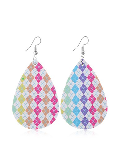 Faux Leather Multi Color Printed Earrings - One Size