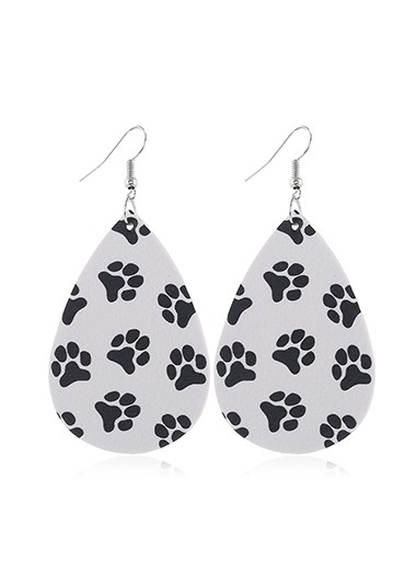 Faux Leather Dog Paw Print White Earring Set - One Size