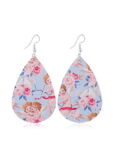 Faux Leather Flower Print Multi Color Earring Set - One Size