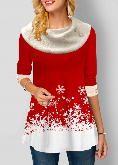 Snowflake Print Long Sleeve Contrast Panel T Shirt - L