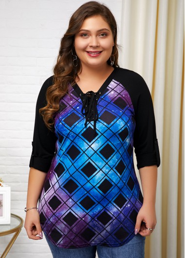 Plus Size Plaid Print Lace Up T Shirt - 1X