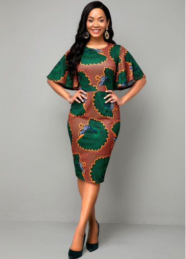 Round Neck Ethnic Print Multi Color Dress - 10