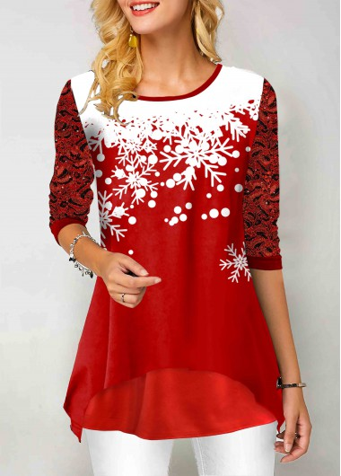 Lace Panel Snowflake Print Round Neck T Shirt - L