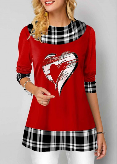 Red Heart And Plaid Print Long Sleeve Tunic Top - 10