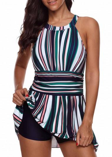 Multi Stripe Cutout Back Swimdress and Shorts - 10