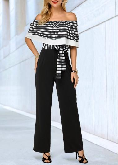 Off the Shoulder Stripe Print Belted Jumpsuit - L