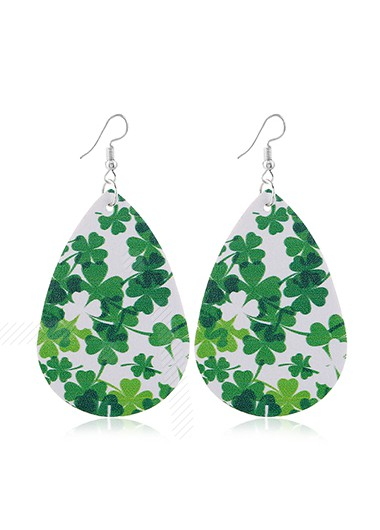 Faux Leather Clover Design Green Earrings - One Size