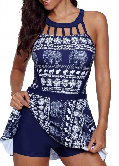 Printed Cage Neck Strappy Back Swimdress and Shorts - 12