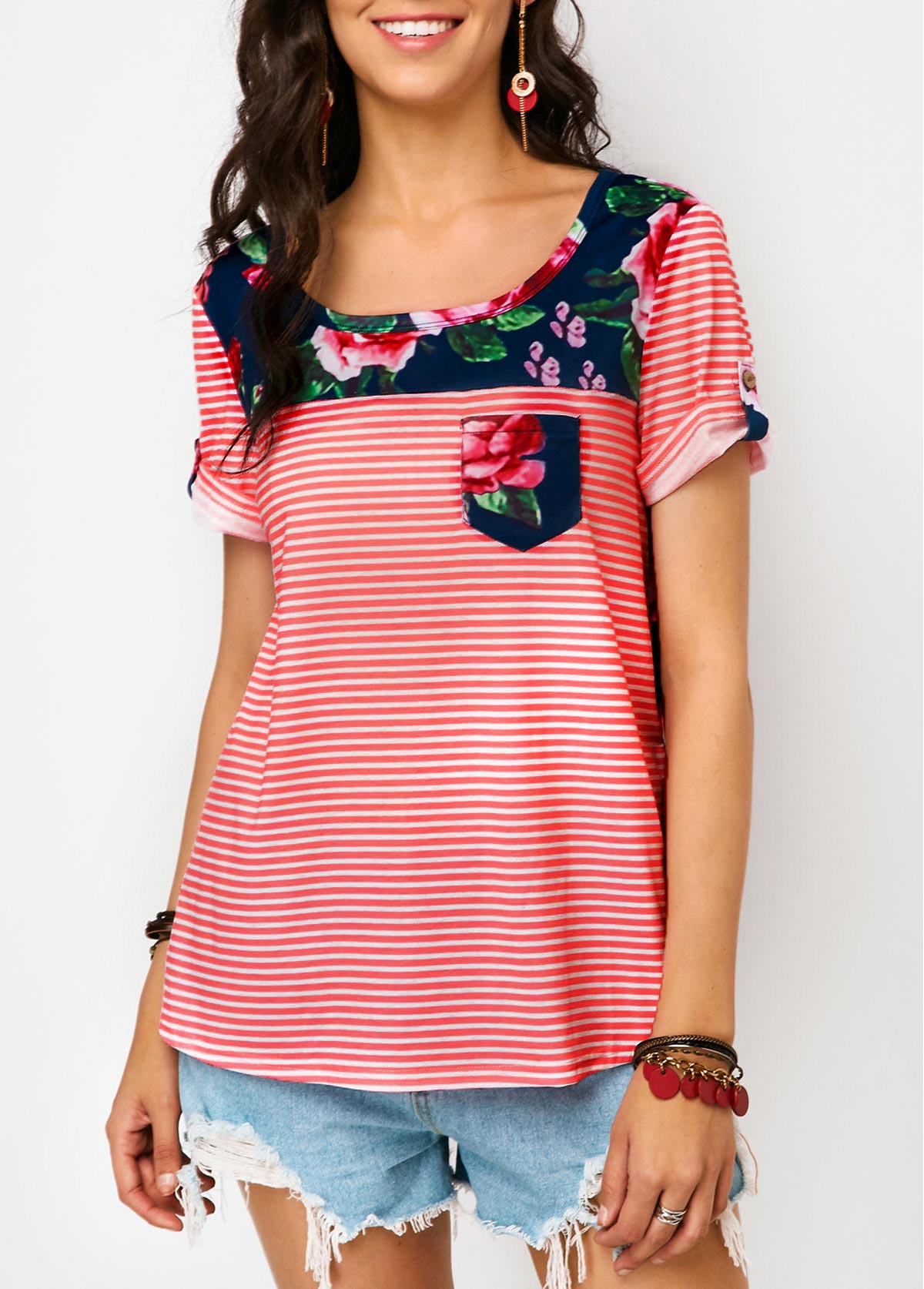 Chest Pocket Flower Print T Shirt