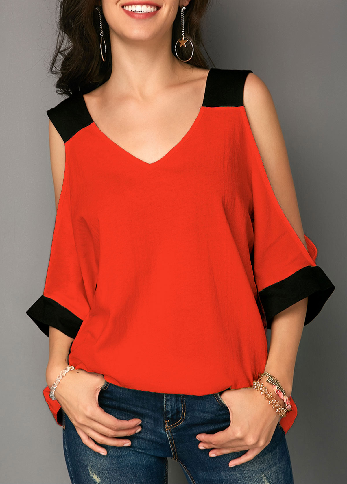 V Neck Cold Shoulder T Shirt