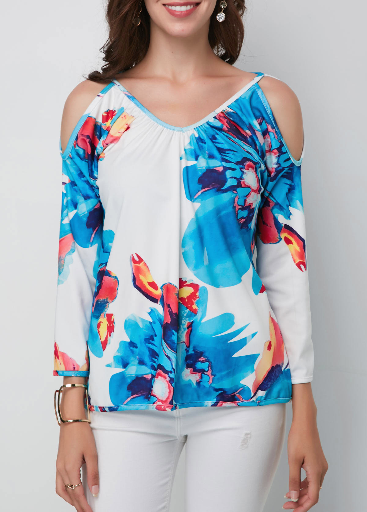 Cold Shoulder V Neck Printed Blouse